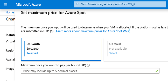 Current prices for UK spot VMs - note that they vary constantly