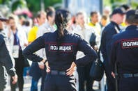Police officers in Moscow, Russia