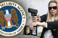 An FBI agent with the NSA logo