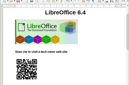 LibreOffice 6.4 includes QR code generation