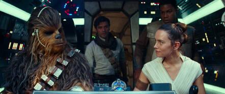 Joonas Suotamo is Chewbacca, Oscar Isaac is Poe Dameron, Daisy Ridley is Rey and John Boyega is Finn.