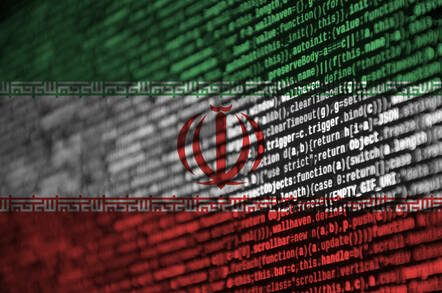 Iranian flag made out of computer code