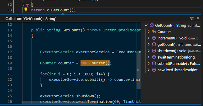 Call Hierarchy, a new feature in Java for VS Code