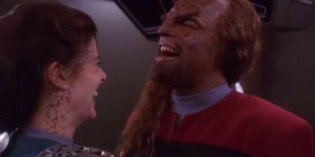 deep space nine: jadzia and worf laughing