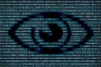 An illustration of digital surveillance with an eye over binary numbers