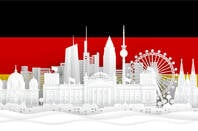 An illustration of Germany's landmarks against its flag