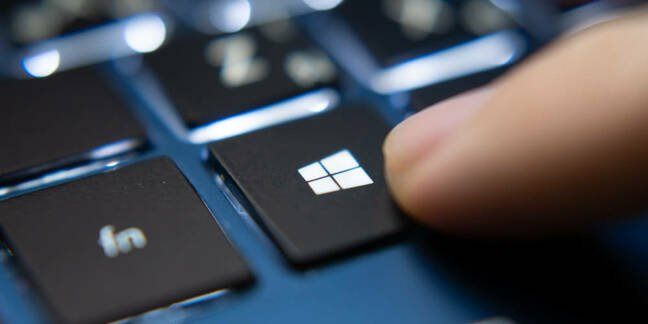 A close-up of the Windows key on a PC keyboard