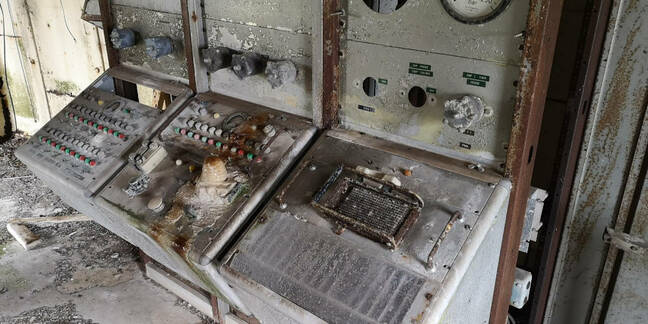 Abandoned control panels at Westcott. Note the frame for an automatic firing circuit on the right
