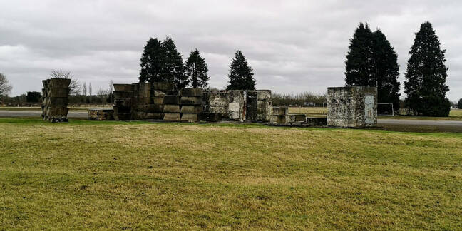 Piles of concrete blocks litter the Westcott site, from the very earliest days of post-war activity