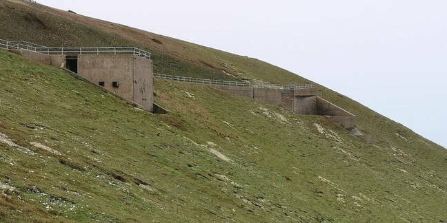 The control and observation chamber at High Downs. Note the viewing portals which are repeated on the other side