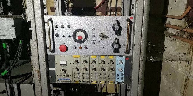 Abandoned control panels in the observation room at the P 1 test stand at Westcott