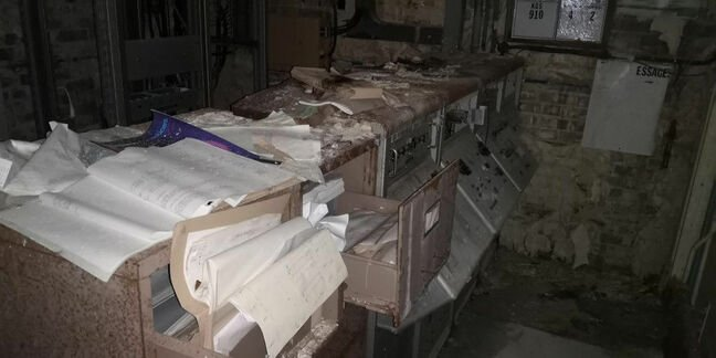 Paperwork abandoned in the control room next to the vacuum test chamber at Westcott
