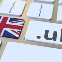 Illustration of .UK and the British flag