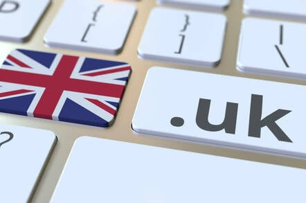 Illustration of .UK and the British flag