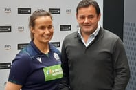 Will Carling (right) with Scotland's Women's Rugby captain, Rachel Malcolm - a forward who led Scotland's 2018 Six Nations campaign against England. Pic: Gareth Corfield