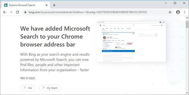 You got Binged! What users see in Chrome after installation