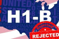 Illustration of a H-1B visa being rejected