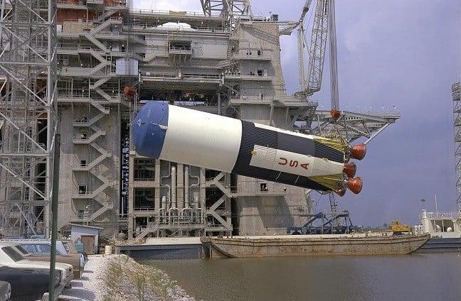 Saturn V at Test Stand (pic: NASA)