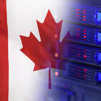 Canadian flag merging into a rack of servers