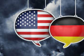 Illustration of US and Germany flags talking to each other
