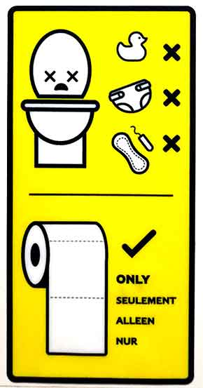 Toilet sign illustrating what not to flush
