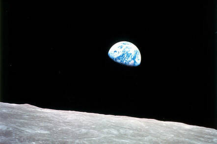 """Earthrise"" Taken aboard Apollo 8 by Bill Anders, this iconic picture shows Earth peeking out from beyond the lunar surface as the first crewed spacecraft circumnavigated the Moon. Image Credit: NASA"