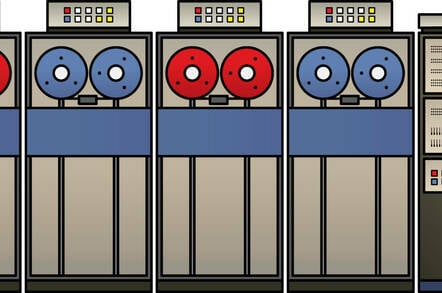 An illustration of a mid-century mainframe