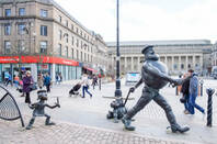 desperate dan statue in city centre of dundee city