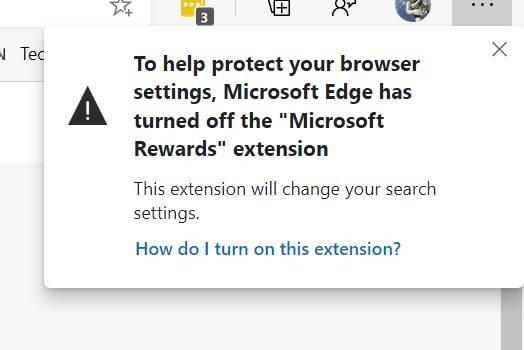 Microsoft Edge blocks Microsoft Rewards
