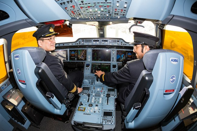 Qatar Airways pilots at work in an A350