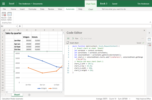 A simple Office script in Excel for the web