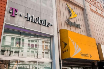 T-Mobile store next to a Sprint store