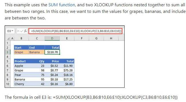 XLOOKUP example showing a nested lookup