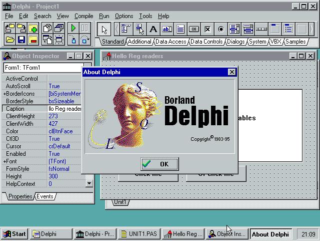 Delphi 1.0 running on Windows 95