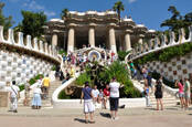 "Park Guell, a municipal garden designed by Antoni Gaudi July 24, 2010 in Barcelona. Built in 1900 - 1914. Part of the UNESCO World Heritage Site ""Works of Antoni Gaudi"". B"