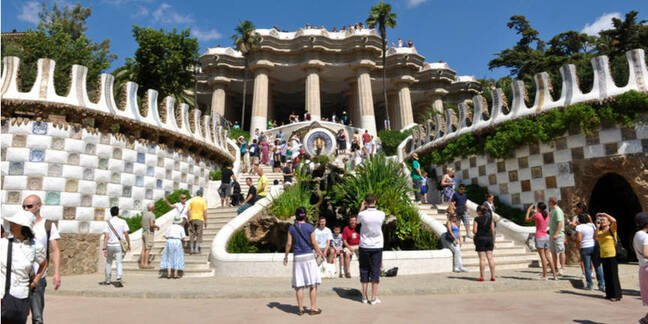 """Park Guell, a municipal garden designed by Antoni Gaudi July 24, 2010 in Barcelona. Built in 1900 - 1914. Part of the UNESCO World Heritage Site """"Works of Antoni Gaudi"""".  B"""