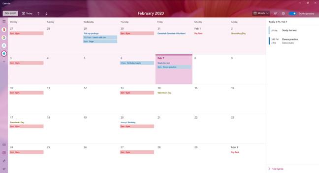 Windows Insider Calendar Preview (pic: Microsoft)