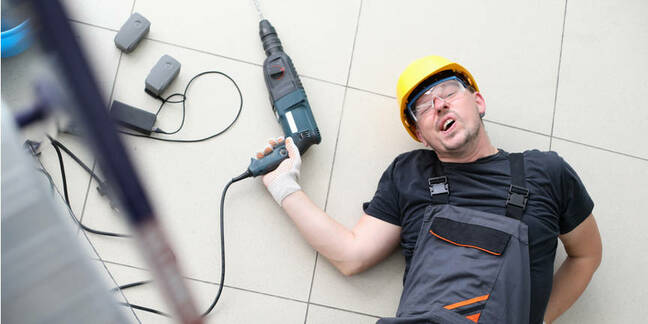 attempting a fix, man falls down stairs with drill in his hand