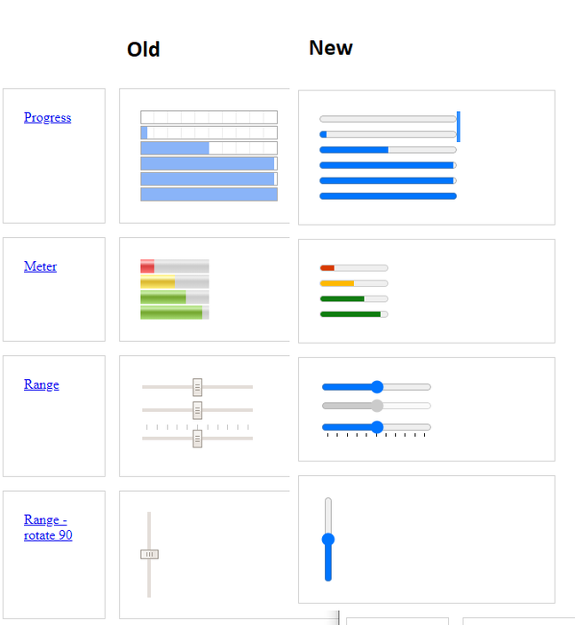 Some of the refreshed form controls in Chromium, showing old and new