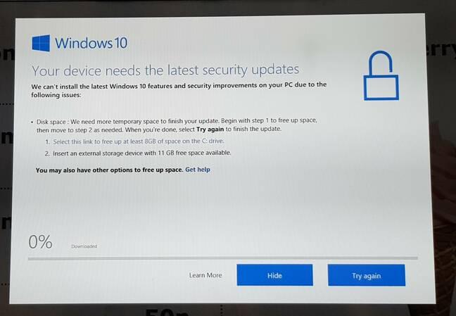 Close-up of IKEA Windows 10 message