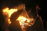 viking funeral pyre - ship on fire
