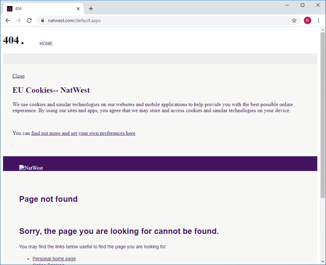 Natwest.co.uk redirect to 404 page