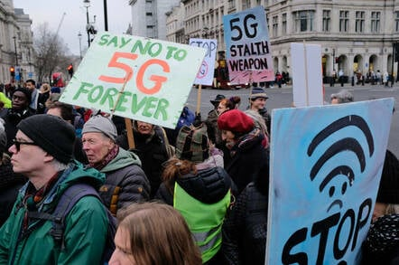 Protesters at London's Parliament square who want to stop roll out of 5G phone networks.