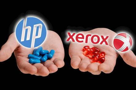 HP and Xerox logos over a hand holding out a blue and red pill