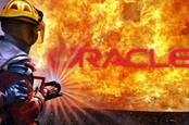 Illustration of Oracle on fire with a firefighter spraying it