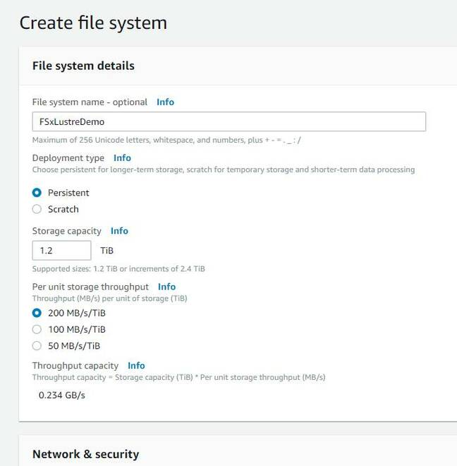 Creating a Lustre file system in the AWS console
