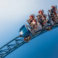 Closeup of the Blue Fire  steel roller coaster at Europa-park