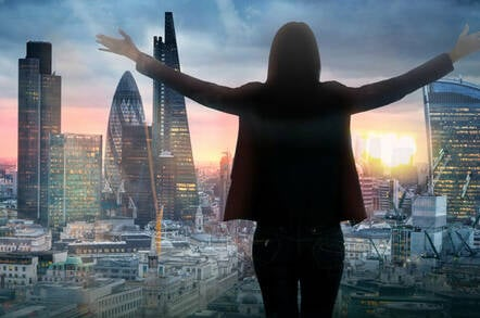 Someone looking out over the City of London (stylized)
