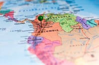 Colombia on a map with a location pin in it