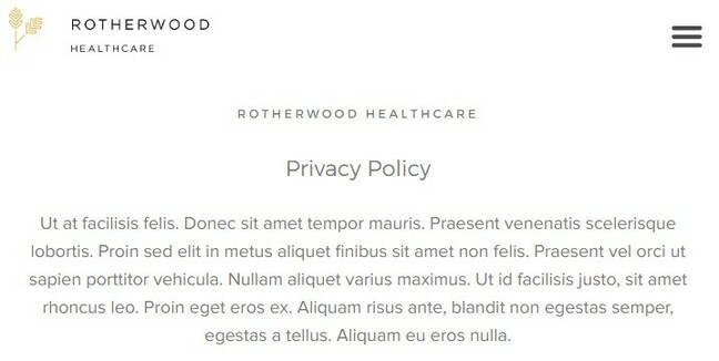 Rotherwood Healthcare's online privacy policy